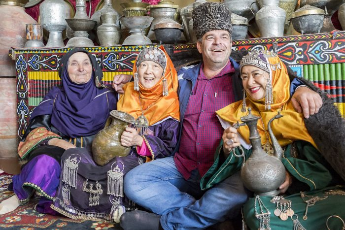 Photo of tourists in traditional dress of brides in the village of Balkhar in Dagestan_Photo by Vladimir Sevrinovsky