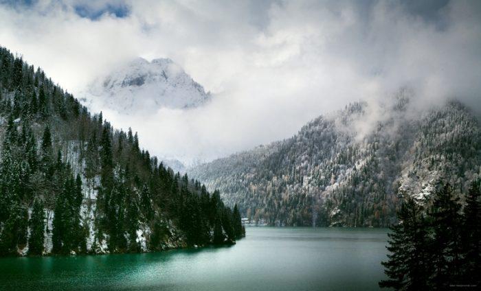 Ritsa lake in winter time